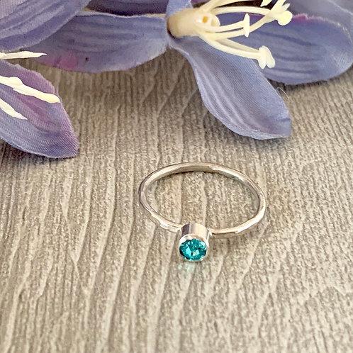 Swarovski Crystal Stacking ring- Light Turquoise