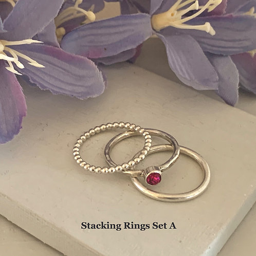 Swarovski Crystal Stacking rings - Fuchsia