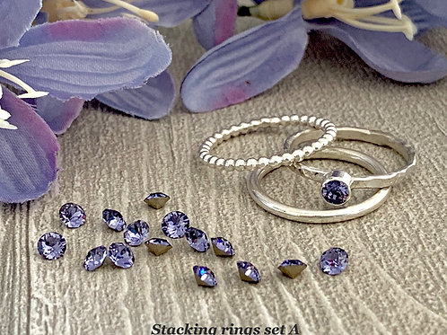 Swarovski Crystal Stacking Ring Set - Tanzanite
