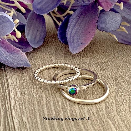 Swarovski Crystal Stacking Ring Set - Crystal Scarabaeus Green