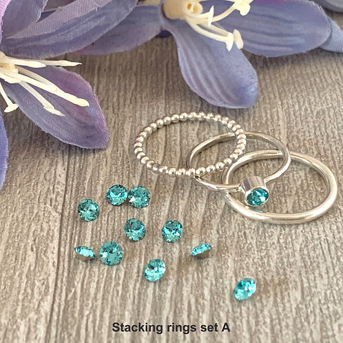 Swarovski Crystal Stacking rings - Light Turquoise