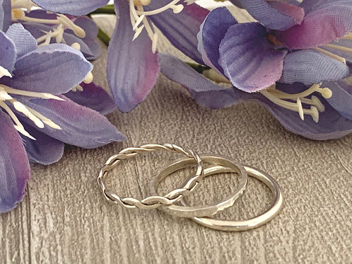 Sterling silver stacking ring set A