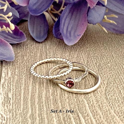 Swarovski Crystal Stacking Ring Set -Iris