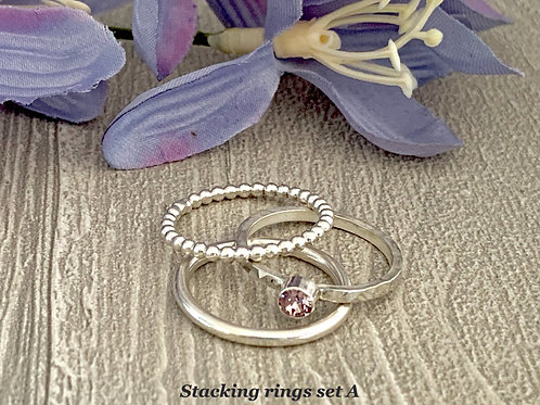 Swarovski Crystal Stacking Ring Set - Light Amethyst
