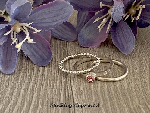 Swarovski Crystal Stacking rings - Light Rose