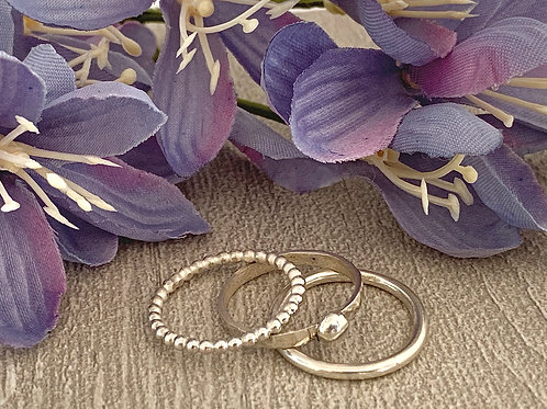 Sterling silver stacking ring set C
