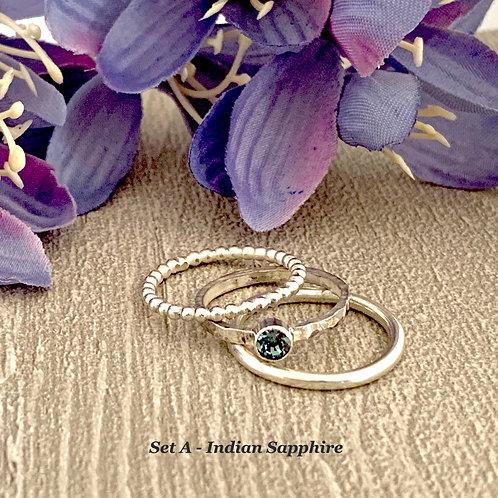 Swarovski Crystal Stacking Ring Set - Indian Sapphire