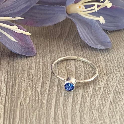 Swarovski Crystal Stacking ring- Sapphire