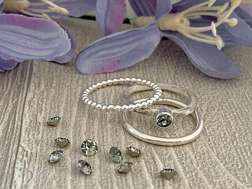 Swarovski Crystal Stacking Ring Set - Black Diamond