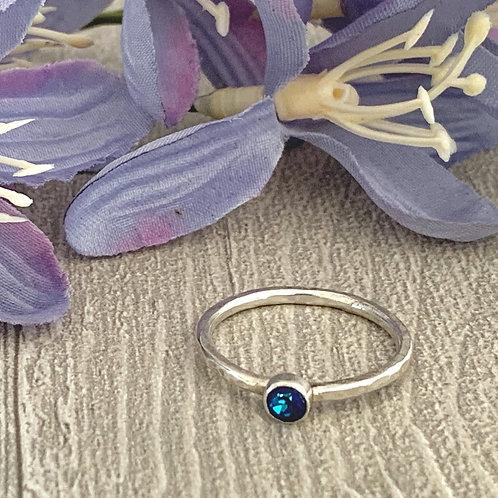 Swarovski Crystal Stacking ring - Crystal Bermuda Blue
