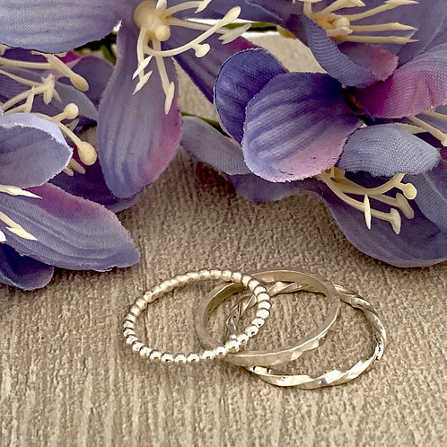 Sterling silver stacking ring set B