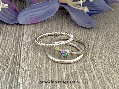 Swarovski Crystal Stacking Ring Set - Crystal Paradise Shine