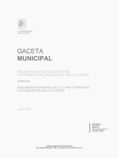 Reglamento Municipal de Cultura y Derechos Culturales