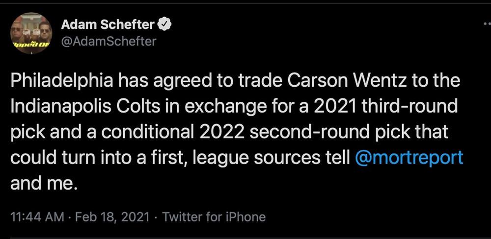 Adam Schefter, Carson Wentz, Colts, Eagles