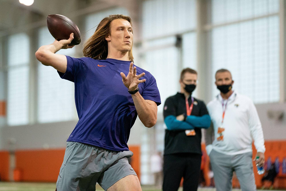 Trevor Lawrence throwing for possible Head Coach Urban Meyer in his 2021 NFL Draft Pro Day.