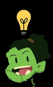 """Orc com lâmpada acima da cabeça e expressão de """"nova ideia"""""""