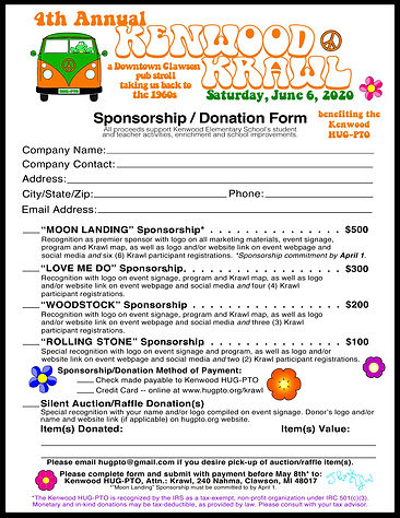 2020 Kenwood Krawl Sponsor Form