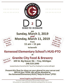 Kenwood Elementary HUG-PTO Dine to Donate at Granite City Troy March 2019 Clawson Schools