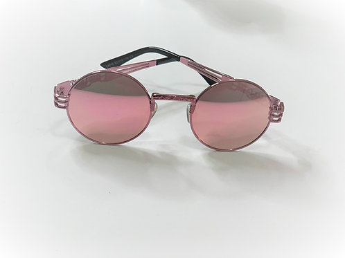 Retro Pink Frame Steampunk Sunglasses