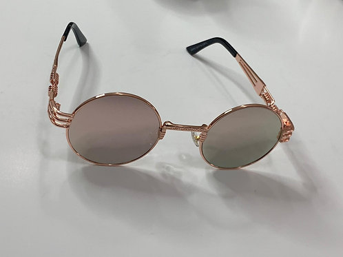 Retro Rosegold Frame and Pink reflective Sunglasses