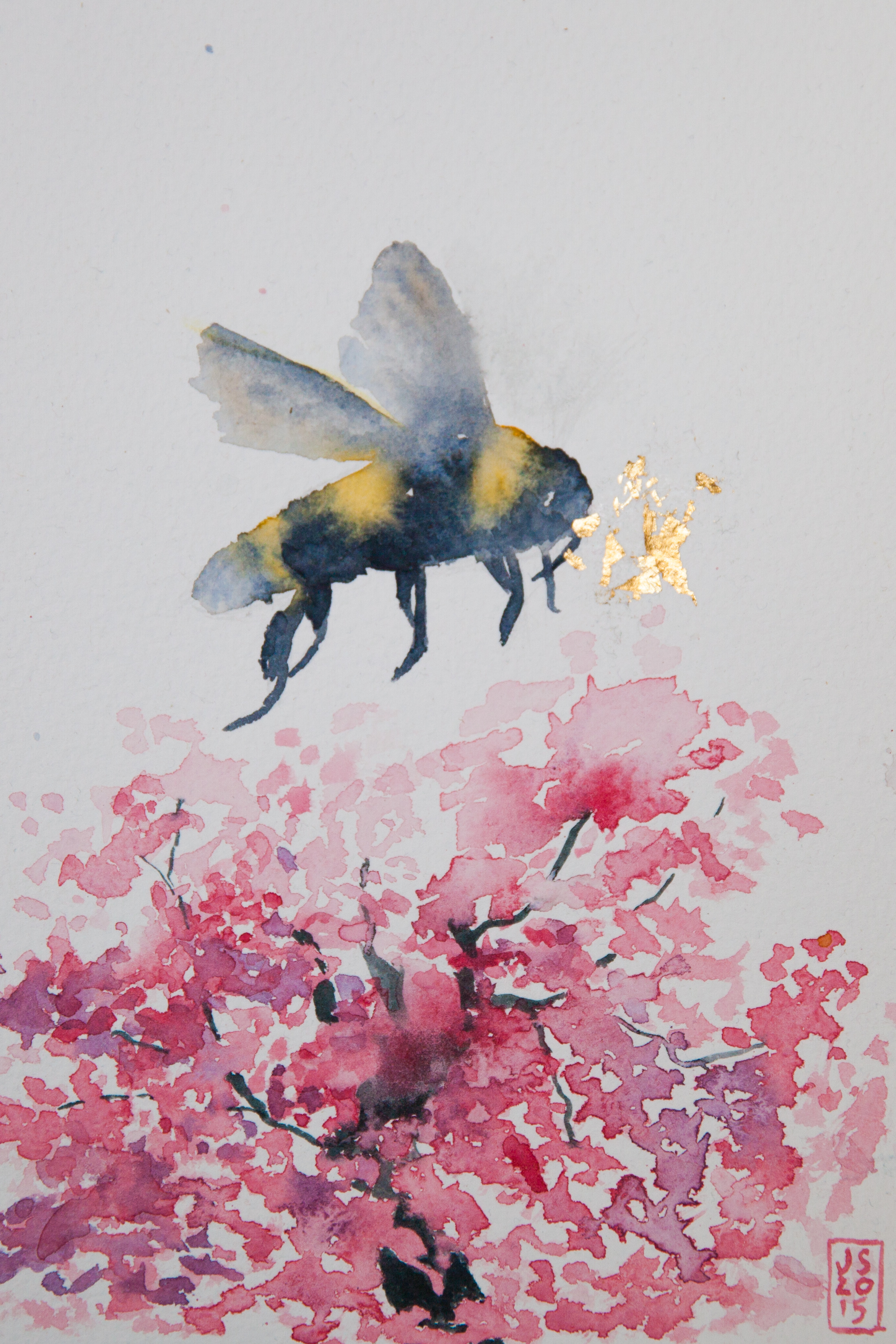 The bee, the blossom and the glory 2 watercolour and gold leaf, A5 size