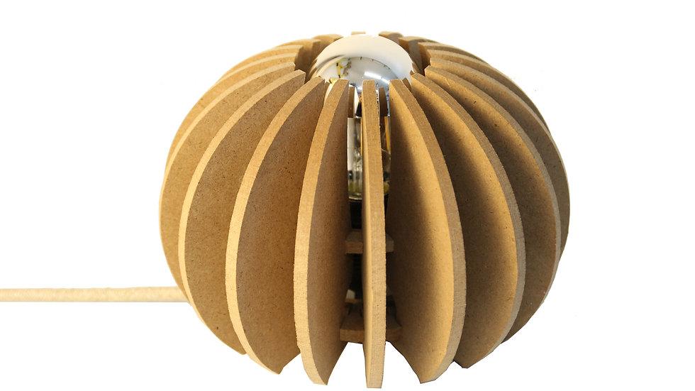 Lampe à poser bois boule D 20cm Wrecking Ball cable lin