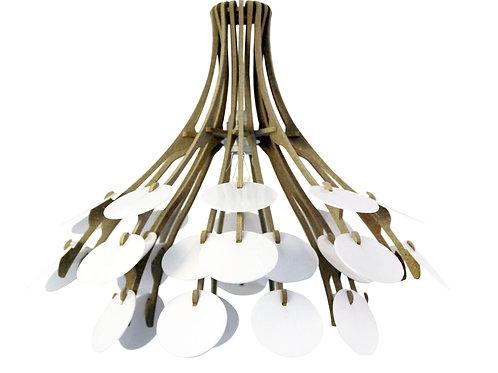 Suspension Design bois plexi D47cm RESPIRE OUVERT kit cable lin et rosace bois