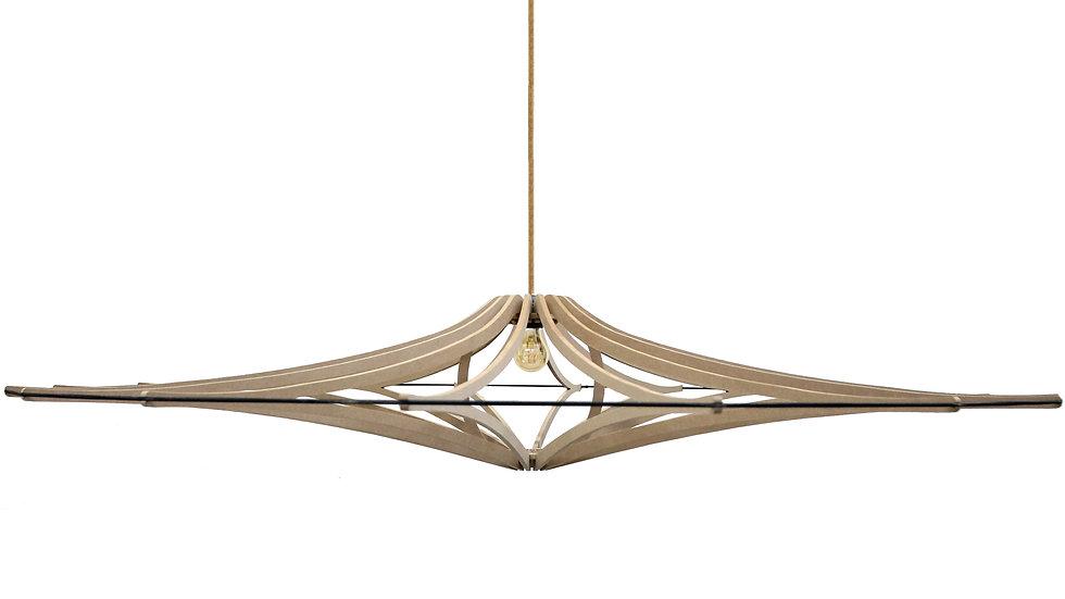 Suspension Design bois D160 cm XL SINGING BRUT - élastique Noir - kit lin