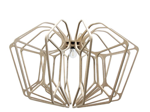 Suspension Bois design D90cm DIAMOND câble lin et plafonnier bois