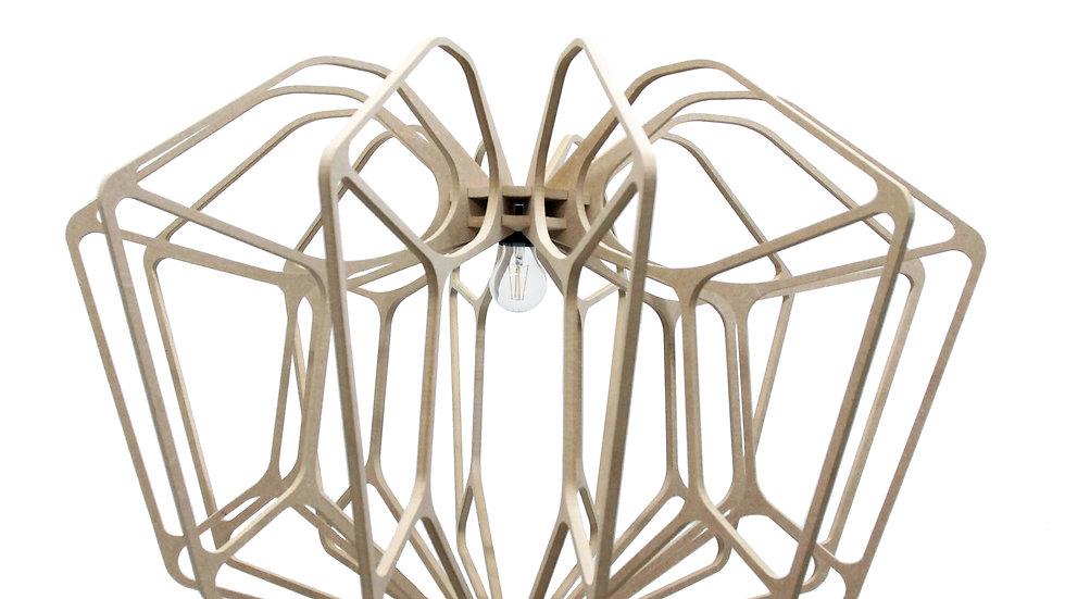Suspension Bois design D90cm DIAMOND câble lin et plafonnier bois