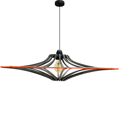 Suspension Bois design bois noir D124 SINGING BLACK- élastique Orange - kit Noir