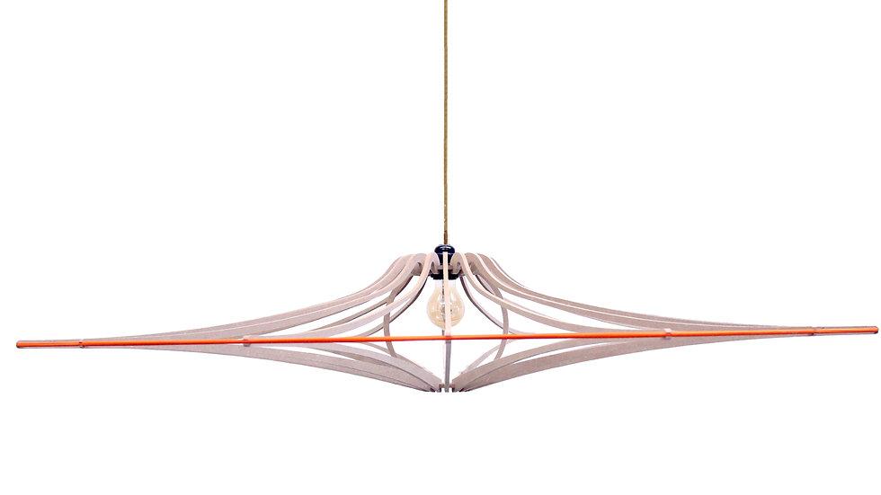 Suspension Design bois D124 cm SINGING BRUT - élastique Orange - kit lin et bois