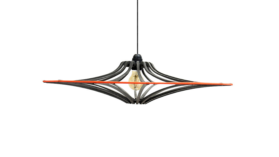 Suspension Design bois noir D65cm SINGING BLACK - élastique Orange - kit noir