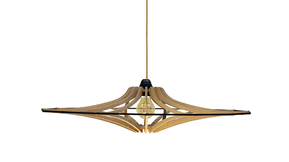 Suspension Design bois D65cm SINGING BRUT - élastique Noir -Kit lin