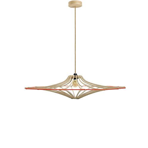 Suspension Design bois D65cm SINGING BRUT - élastique Orange - kit lin et bois