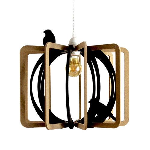 Suspension Design bois D36cm CAGE AUX OISEAUX Cable lin et plafonnier bois