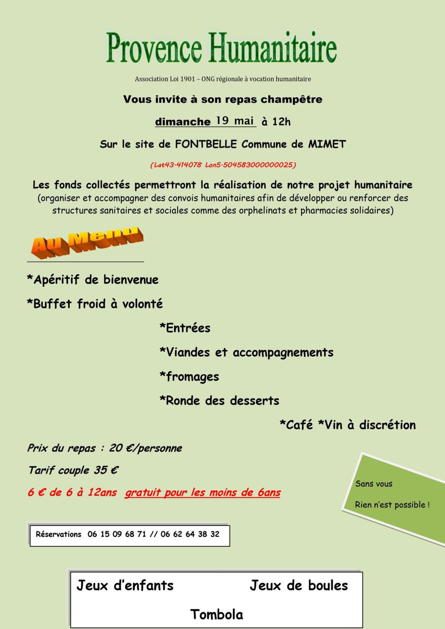 Repas au profit de l'ONG Provence Humanitaire - Dimanche 19 mai à 12h