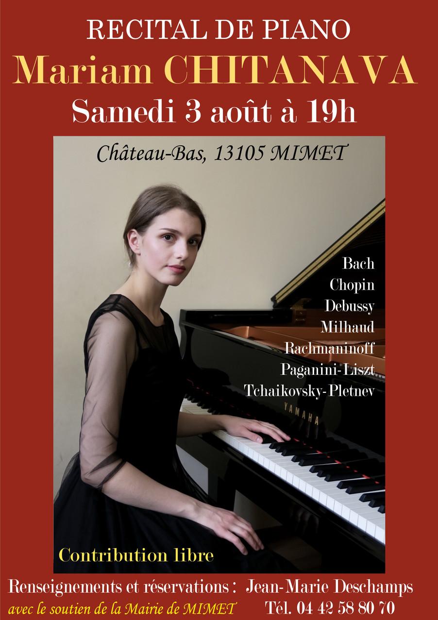 Samedi 3 août à Château Bas - Récital de Piano par Mariam CHITANAVA