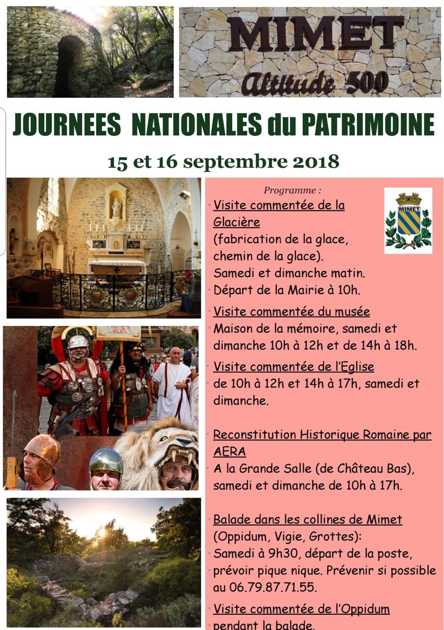 Samedi 15 et dimanche 16 septembre Journées nationales du Patrimoine 2018