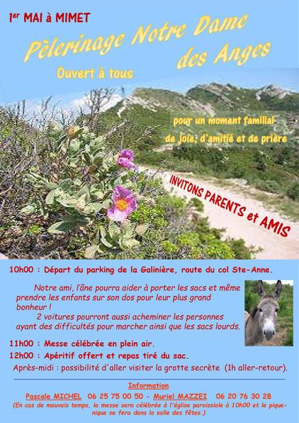 Pèlerinage Notre Dame des Anges -  Mercredi 1er mai