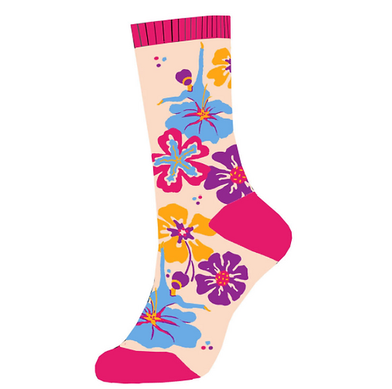 Multicolor Flowers with Dancers Lightweight Sock