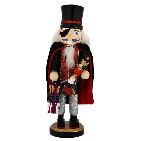Drosselmeyer Nutcracker with Cape and Presents 10 Inch