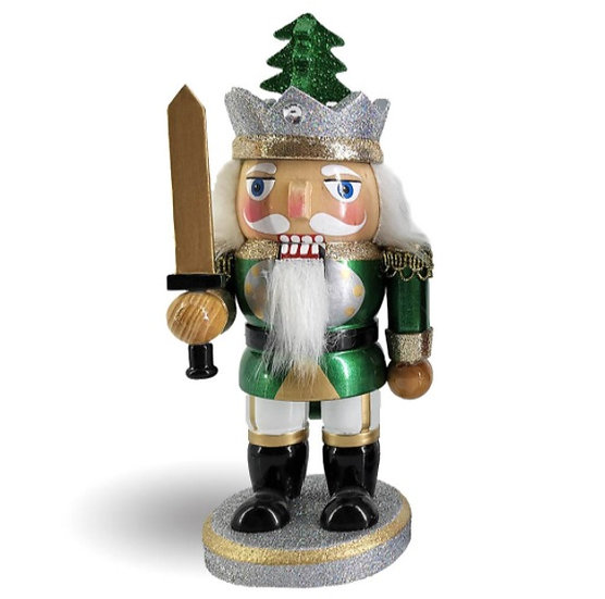 Chubby King Nutcracker in Green and Gold with Sword 8 Inch