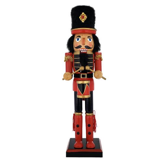 Soldier Nutcracker Red Jacket Fur Hat and Drum 15 Inch