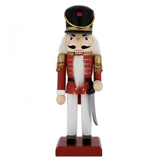 Traditional Soldier Nutcracker Red White Black Hat 10 Inch