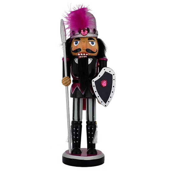 Knight Nutcracker Black Purple Costume and Shield 10 Inch