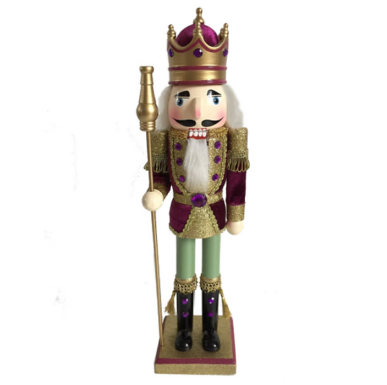 King Nutcracker Maroon Velvet Jacket and Scepter 15 Inch