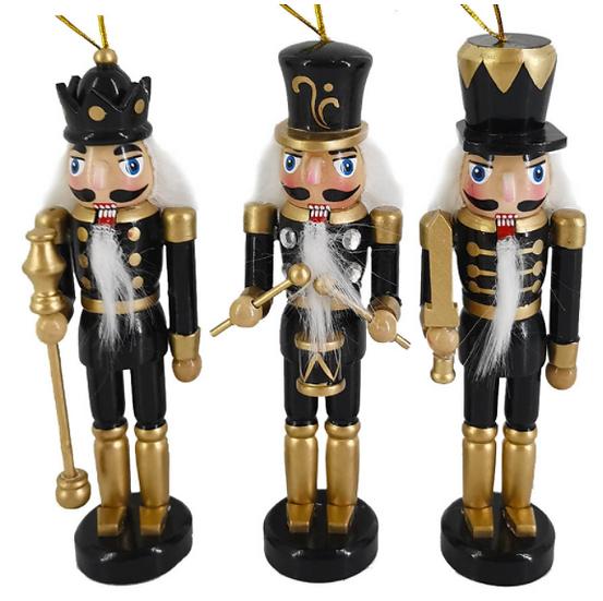 Black and Gold Nutcracker Ornament 6 Inch