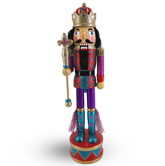 King Nutcracker in Red and Purple Glitter on Drum Base 15 Inch