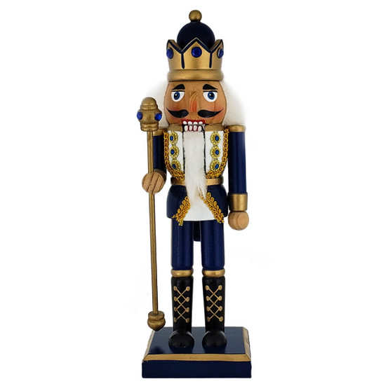 King Nutcracker Blue Gold with Scepter 10 Inch